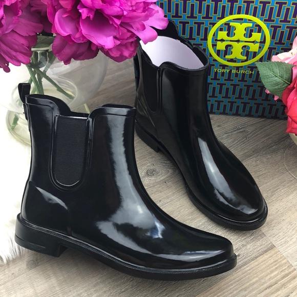 f54a5b214066  Tory Burch  Black Chelsea Rubber Rain Booties